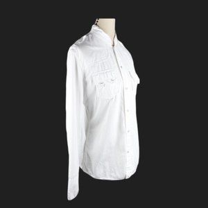 True Religion Shirt Button Up White Long Sleeve